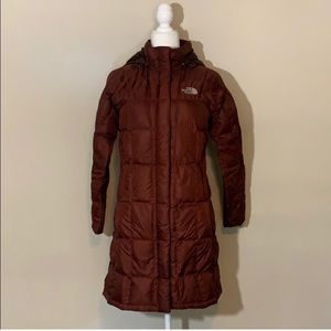 The North Face 600 Down Long Parka Burgundy Red XS